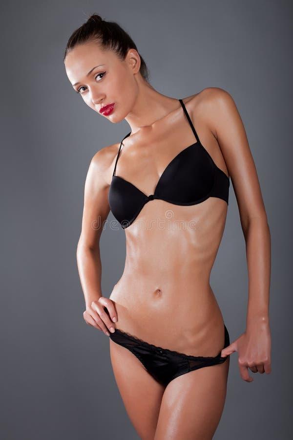 Woman In Black Lingerie Studio Royalty Free Stock Image