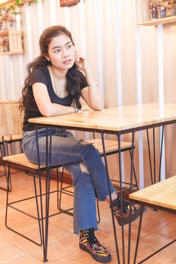 Woman black shirt stock photo