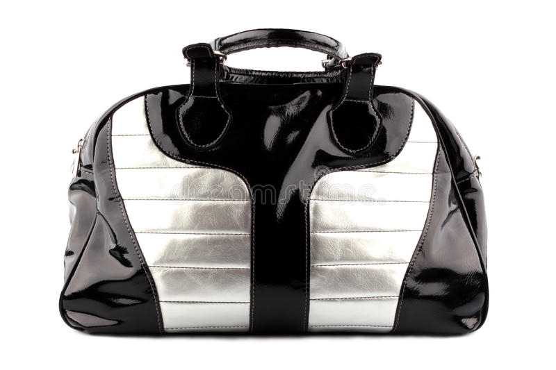 Download Woman black-silvery bag stock photo. Image of handle - 11497780