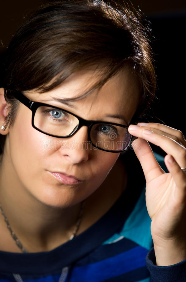 Download Woman in black spectacles stock image. Image of hair - 26860081
