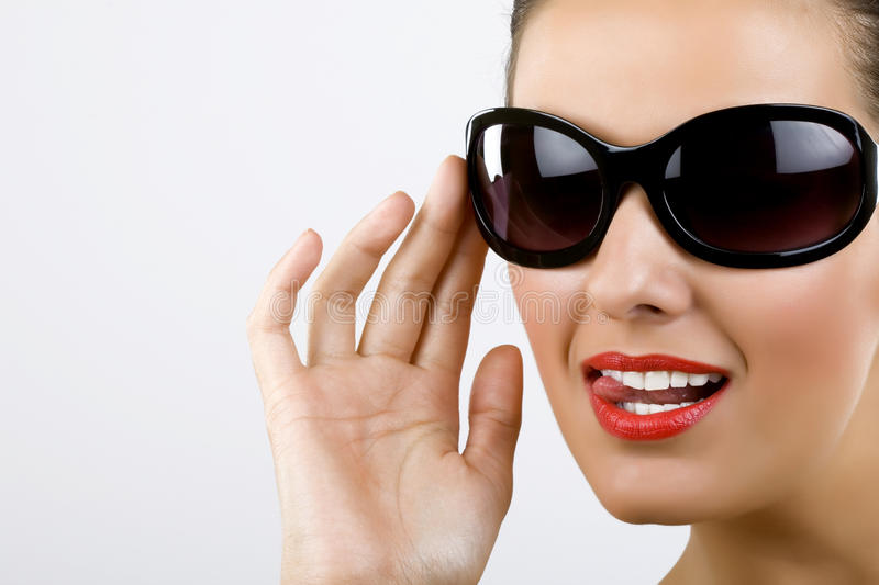 Woman with black sunglasses royalty free stock photo