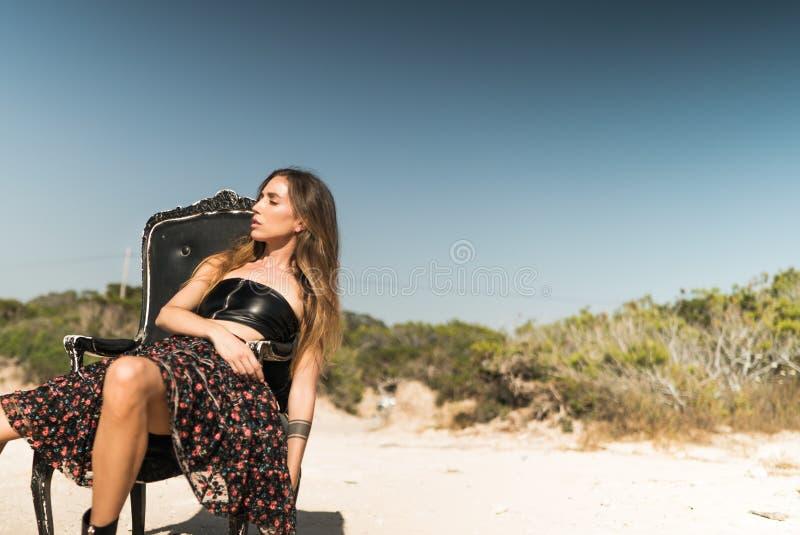 Woman In Black Tube Midi Dress stock image