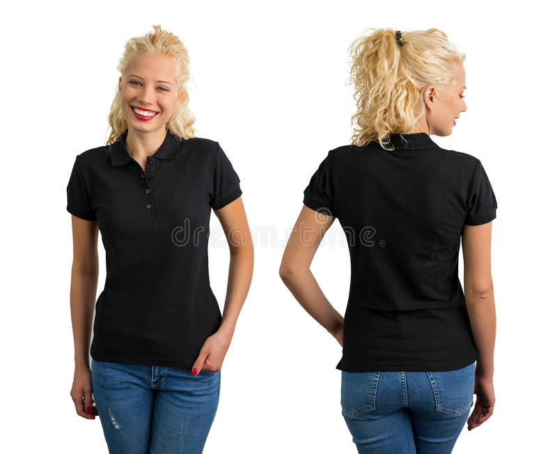 Woman in black V-neck polo T shirt. Front and back royalty free stock images