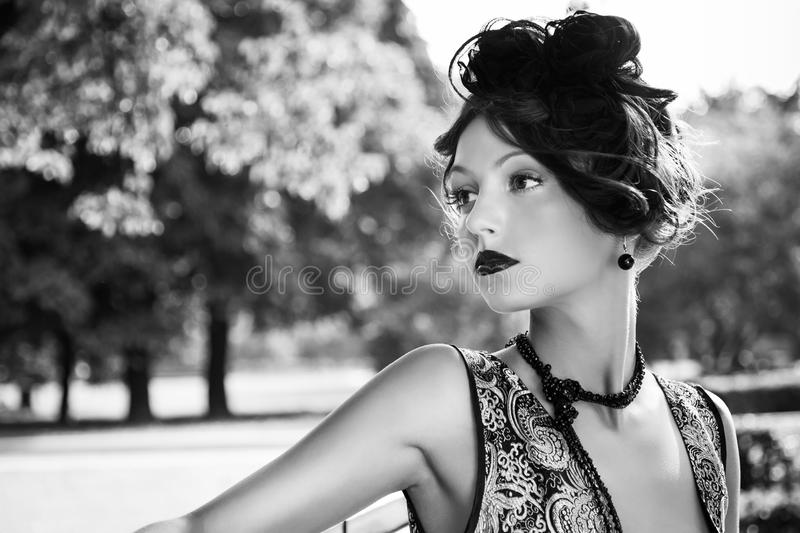 Woman in black white stock image