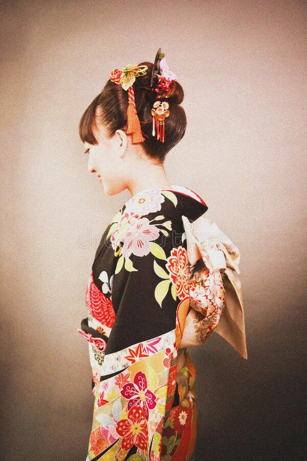 Woman In Black Yellow And Red Floral Kimuno Dress Free Public Domain Cc0 Image