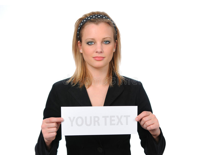 Woman With Blank Ad royalty free stock images