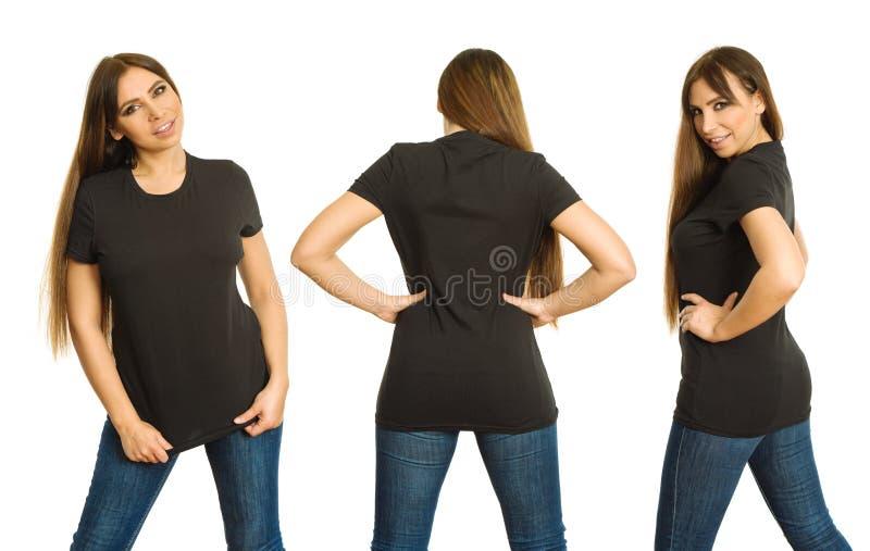 Woman with blank black shirt three views royalty free stock image