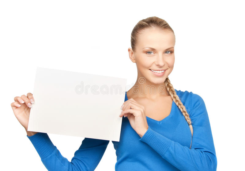 Woman with blank board stock photo