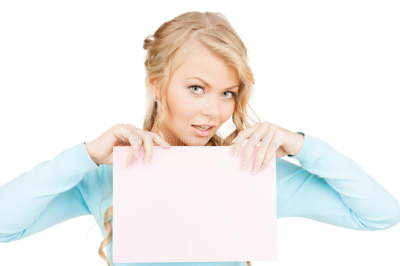 Download Woman with blank board stock photo. Image of info, advertising - 35132894