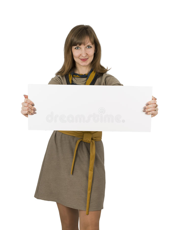 Woman blank board royalty free stock photography
