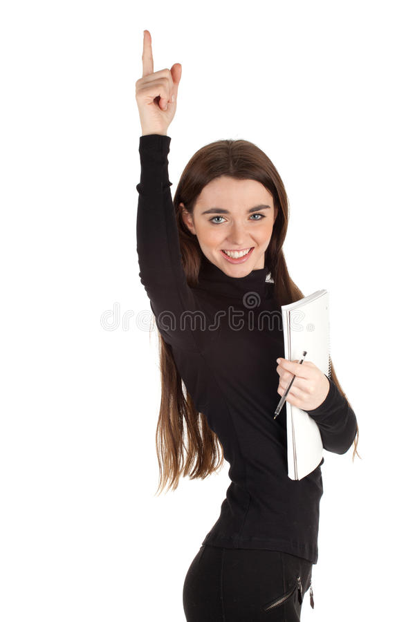 Woman With Blank Card Pointing Stock Photo