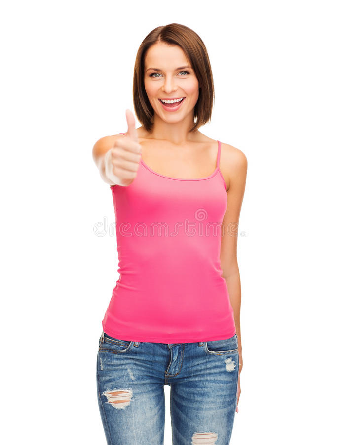 Woman In Blank Pink Tank Top Showing Thumbs Up Royalty Free Stock Photography