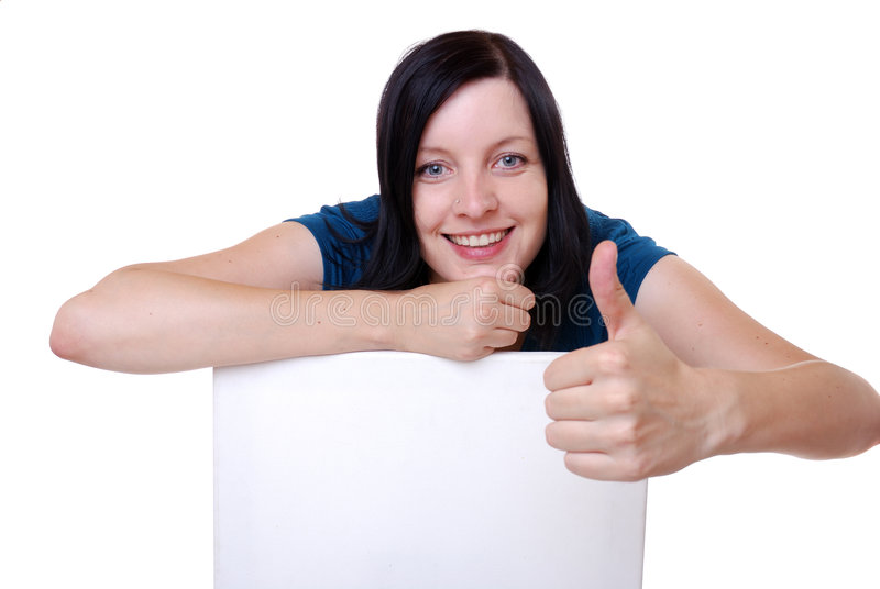 Woman with blank sign stock images