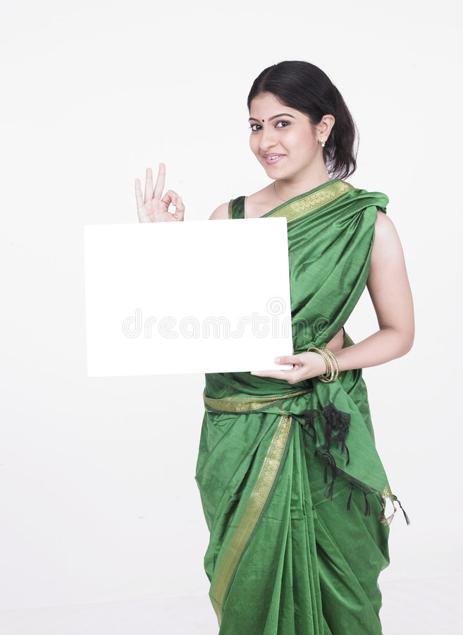 Download Woman With A Blank White Placard Stock Photo - Image: 7332936