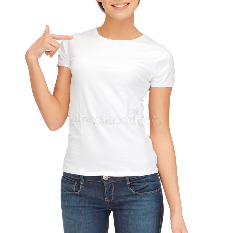 T Shirts Design Concept: Woman In Blank White T-shirt Stock Photo
