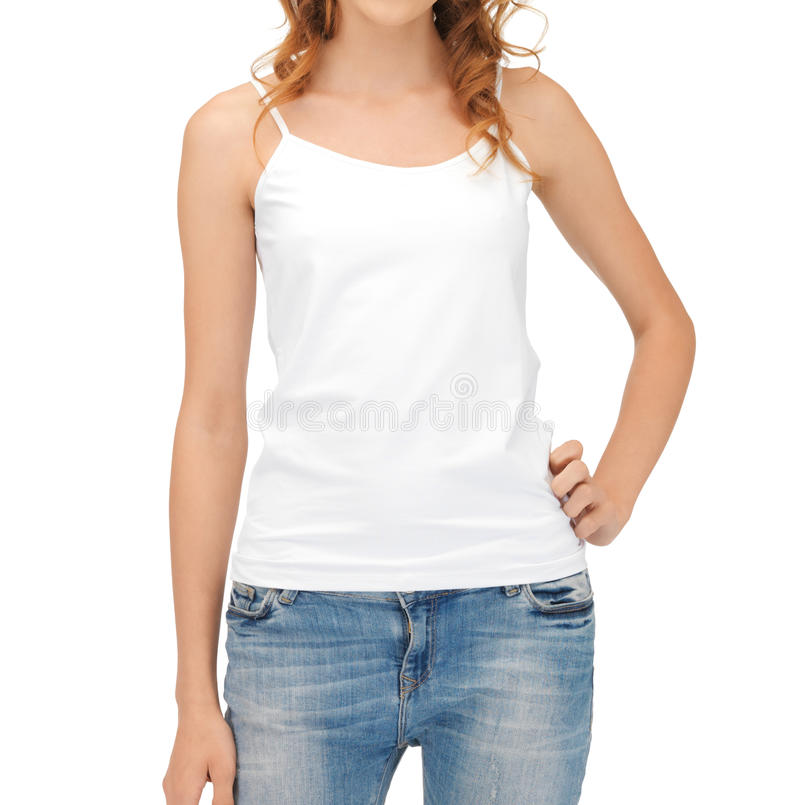 Woman in blank white tank top stock photos