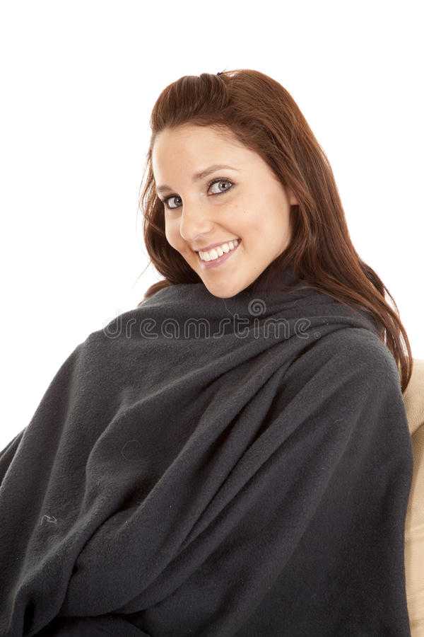 Download Woman In Blanket With A Smile Stock Photo - Image: 18453538