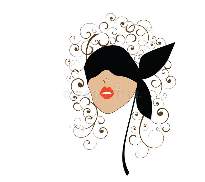 Woman in blindfold. Adventuresome woman with blindfold over her eyes (head with curls vector illustration