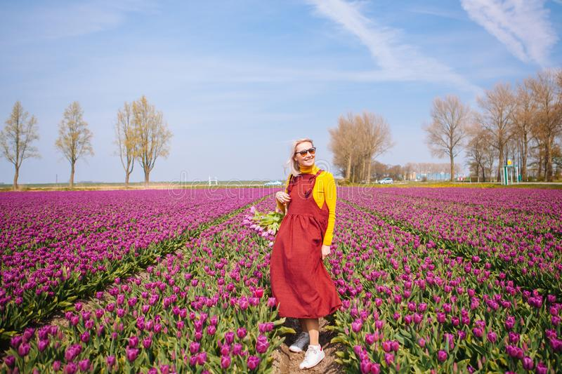 Woman with blond hair wearing a red dress and yellow blouse holding a basket with tulips flowers royalty free stock image