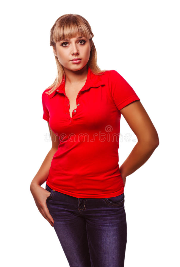 Woman blonde girl in a red t shirt and blue jeans stock for Red and blue t shirt