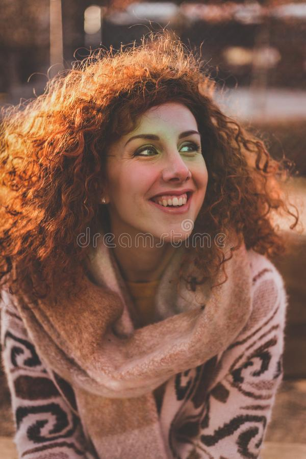 Woman With Blonde Hair Wearing Brown Sweater stock photos