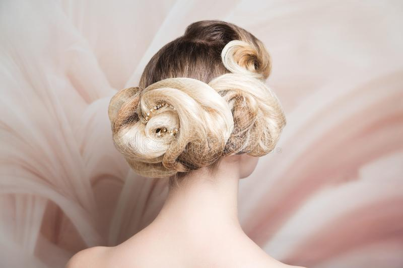 Woman hairstyle gathered hairdo curls royalty free stock photography