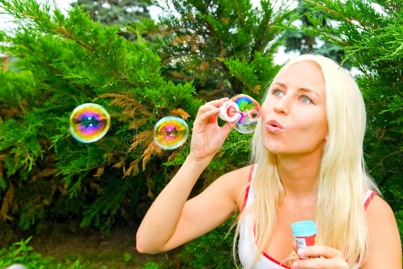 Download Woman blow bubbles stock image. Image of adult, purity - 11185843