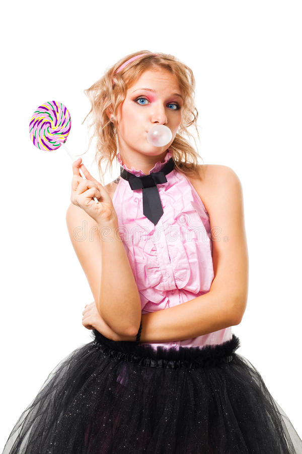 Download Woman Blow Up Gum And Hold Candy Stock Photo - Image: 12202290
