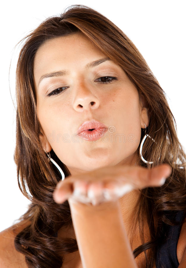 Download Woman blowing at her hand stock photo. Image of isolated - 13712010