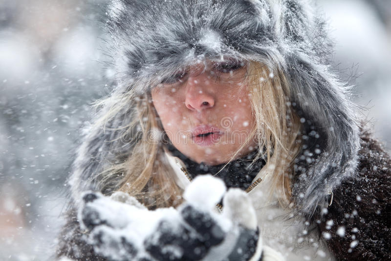 Download Woman Blowing Snow stock photo. Image of woman, pretty - 12508922