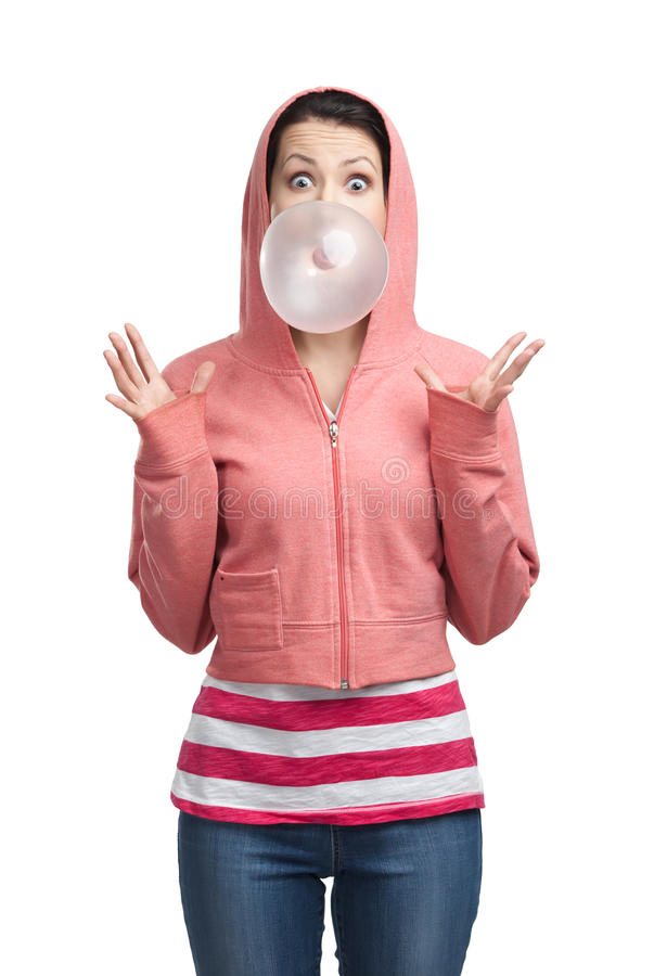 Download Woman blows out bubble gum stock photo. Image of foodstuff - 27110086