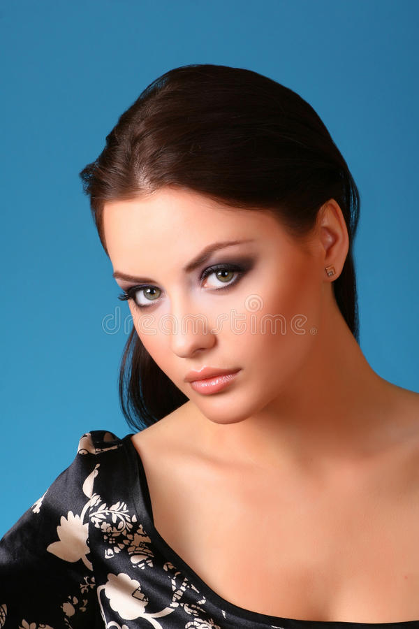 Download Woman on blue stock image. Image of brunette, fashion - 9439825