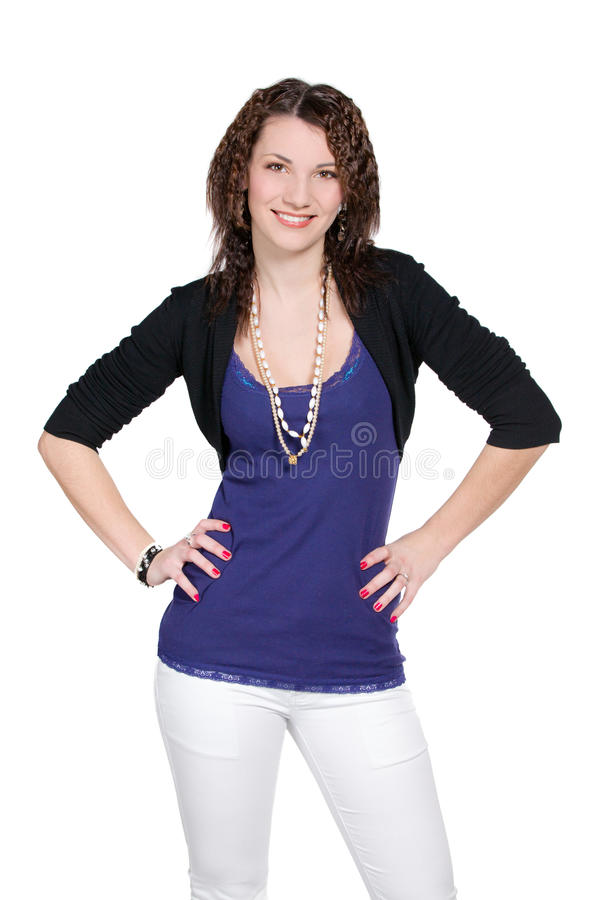 Download Woman In Blue With Arms Akimbo, Stock Photo - Image: 23459856