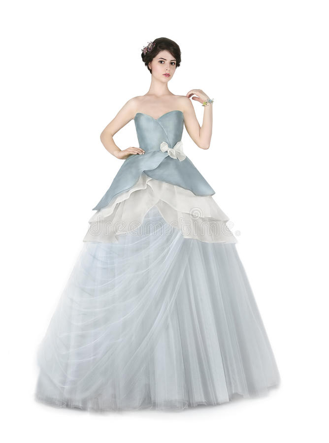Woman in blue ball dress royalty free stock image