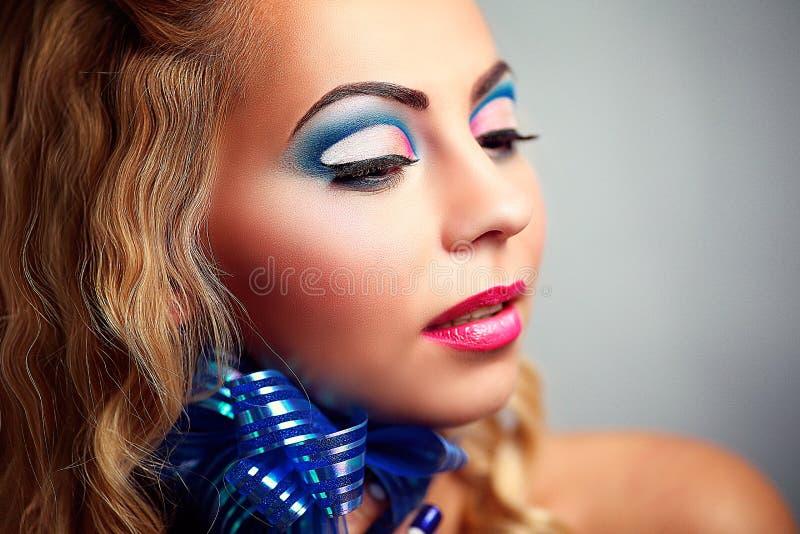 Woman blue bow stock photo