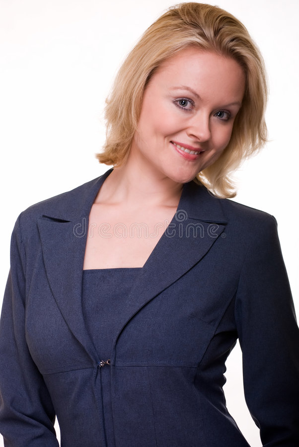 Woman In Blue Business Suit Stock Photo
