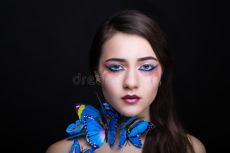 Download Woman blue butterfly stock image. Image of magic, close - 106968391