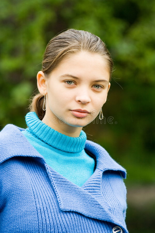 Download Woman With Blue Coat Outdoors Stock Photo - Image: 6581244