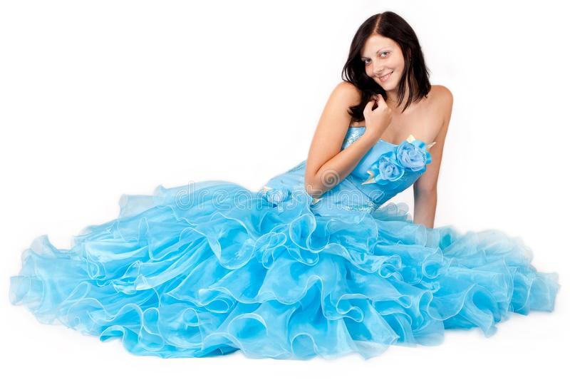 Woman in a blue dress royalty free stock photo