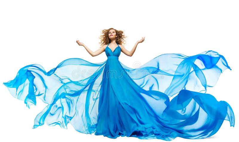 Woman Blue Dress Fluttering on Wind, Waving Silk Cloth and Hair, Artistic Fashion Gown Waving on White stock photos