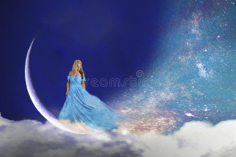 Woman in moon royalty free stock image