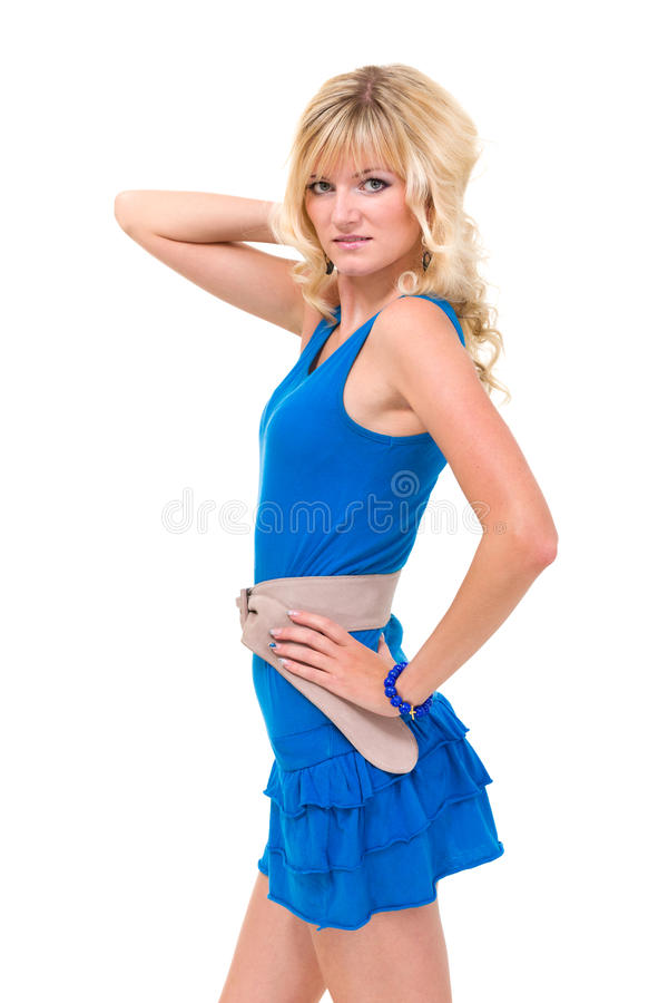 Download Woman in blue dress posing stock image. Image of modern - 28108021