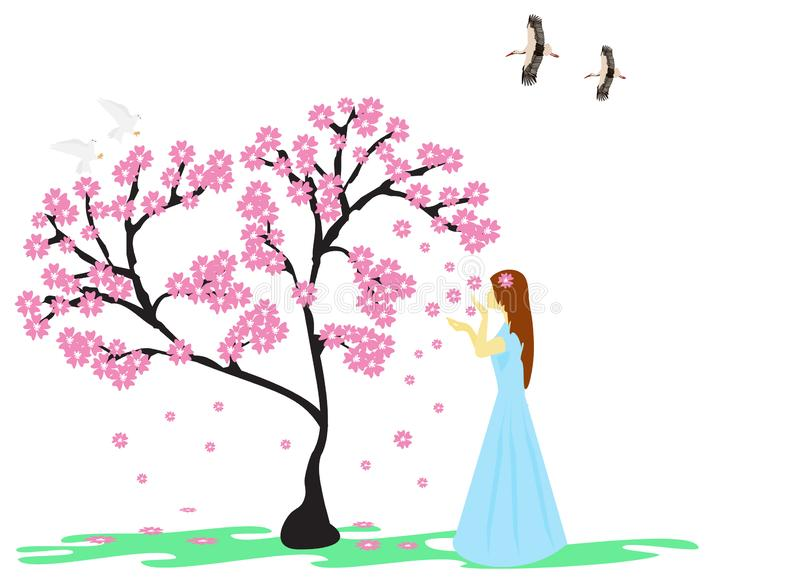 A woman in a blue dress under a tree with pink flowers has a white background royalty free stock photo