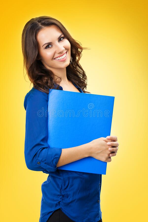 Woman with blue folder, over yellow orange royalty free stock photos
