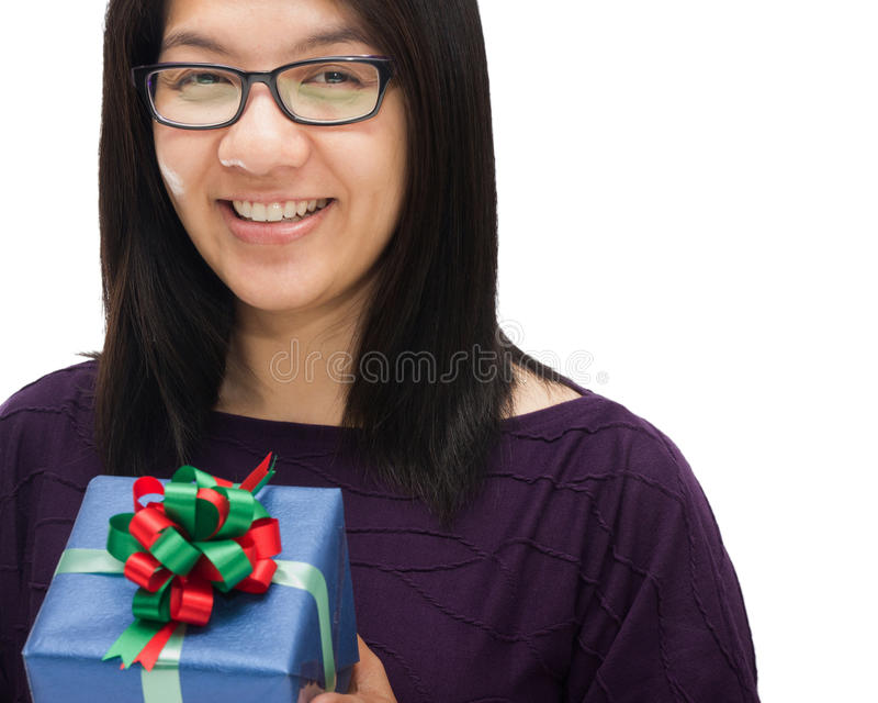 Download Woman and blue gift stock image. Image of cheerful, receiving - 27778403