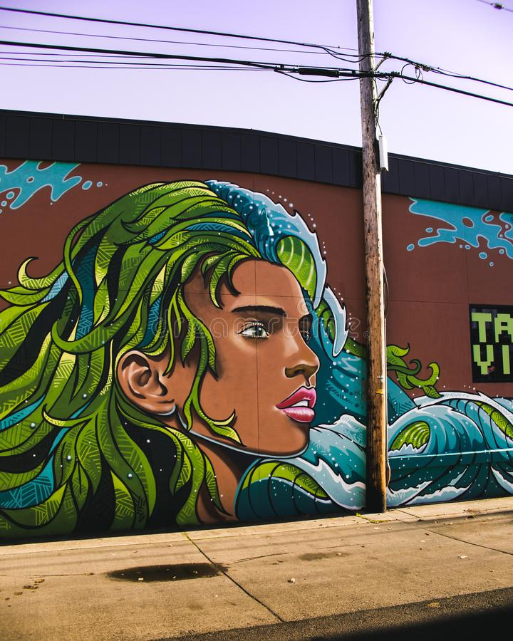 Woman With Blue and Green Haired Wall Painting royalty free stock photography