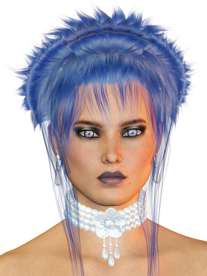Woman With Blue Hair Stock Photography