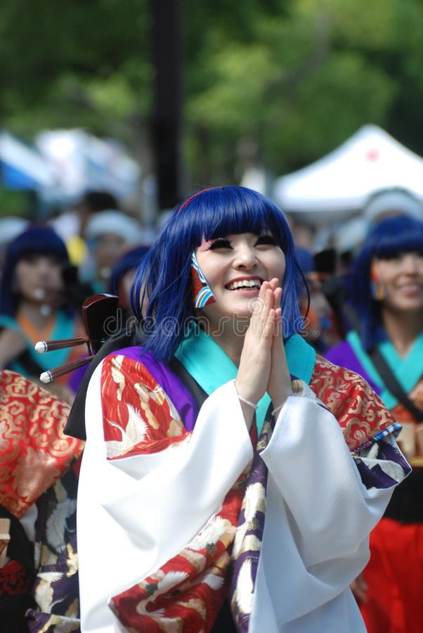 Woman in Blue Hair Wearing Costume during Daytime royalty free stock photography