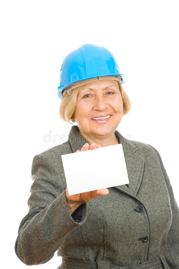 Download Woman with blue hard hat stock photo. Image of copy, announcement - 16383770