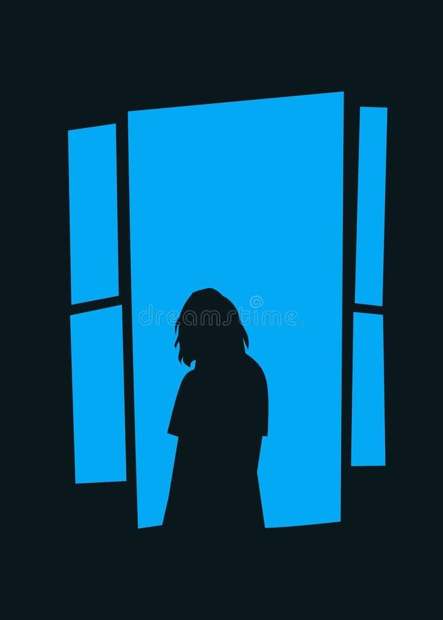 Woman on blue moon illustration art design stock photo